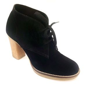 J CREW MCALLISTER BLACK SUEDE HEELED LACE UP BOOTI